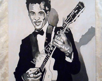 CHUCK BERRY Hand Painted Oil Painting 18 x 24