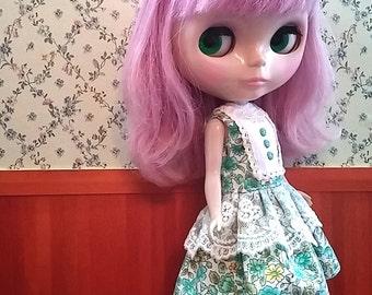 CottonCandyWorkshop Blythe Dress, green flowery lace Dress