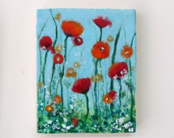 Original Encaustic Poppy Painting - Red Poppies Blue Sky - Poppies Floral Painting - Flower Painting Encaustic Art - Beeswax Art-KlynnsArt