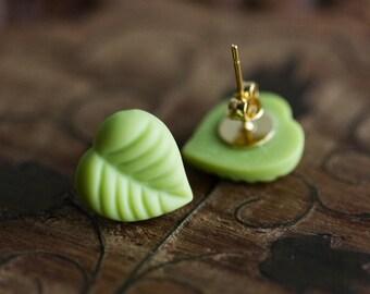 Apple Green Leaf Studs Pastel Green Ear Studs Pear Green Leaf Earrings Yellow Green Garden Jewelry Spring Leaf Jewelry Nature Jewelry - E330