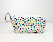 Mini Zipper Pouch with Key Ring - Dots on White - Coin Purse - Capstick Pouch - Earbud Pouch - Ear Phone Pouch - Ready to Ship