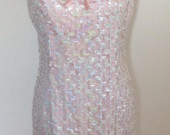 Sequined pink sleeveless dress