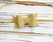 Gold Bow Headband - Baby Bow Headband - Glitter Bow Headband - Gold Glitter Bow Headband - Christmas Bow Headband - Baby Bow Headband