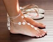 White Barefoot Sandals- Footless Sandals- Beach Wedding Barefoot Sandals- Foot Jewelry- Ivory Barefoot Wedding Sandals- Bridesmaids Gift