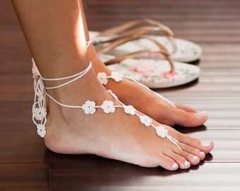 White Barefoot Sandals- Footless Sandals- Beach Wedding Barefoot Sandals- Foot Jewelry- Ivory Barefoot Wedding Sandals- Bridesmaids Gift MCC