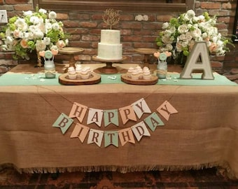 Mint Green Burlap Table Runner 14 Wide Wedding Decorations Reception Bridal Shower