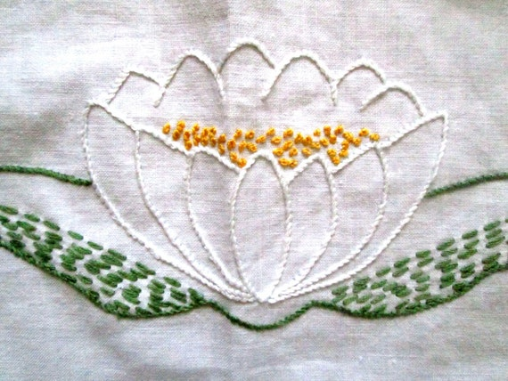 Small Hand Embroidered Linen Tablecloth, Water Lily
