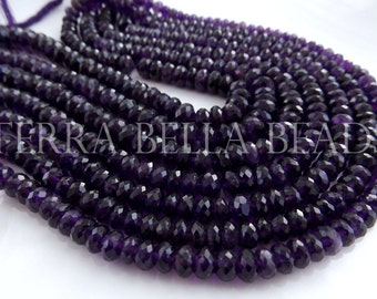 "Full 9"" strand deep purple AMETHYST faceted gem stone rondelle beads 6.5mm - 7mm"