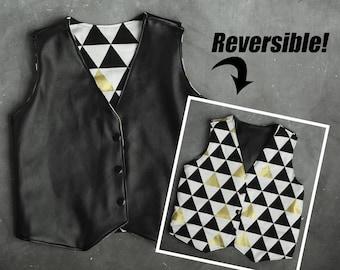 Trendy Boys Vest - Monochrome Clothes - Black and White, Hipster Baby Clothes - Boys Reversible Vest - Leather Vest - Trendy Kids Clothes -