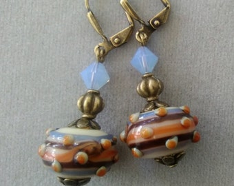 Brown and Blue Lampwork Glass and Swarovski Crystal Earrings