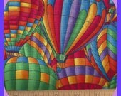 Colorful Rainbow Hot Air Balloon Fabric Cotton FQ Fat Quarters