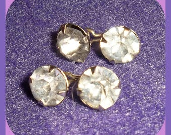 Vintage Rhinestone Cuff Links Double Sided Round Stud Faceted  Men's Ladies Wedding