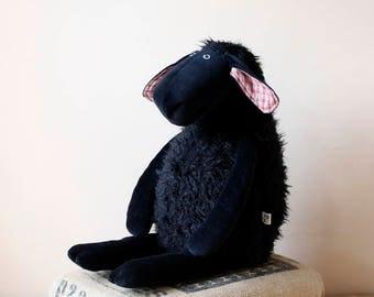 Big Stuffed All Black Sheep, double size soft sheep
