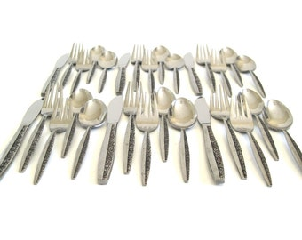 Coventry Stainless Japan Flatware Set, service for 6 (4-pc place settings) 1970s Mid Century Silverware (as-is)