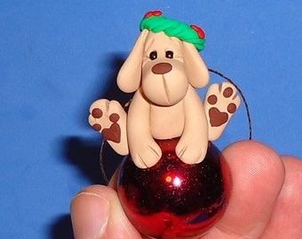 Polymer Clay Yellow Lab Dog on Red Glass Ornament