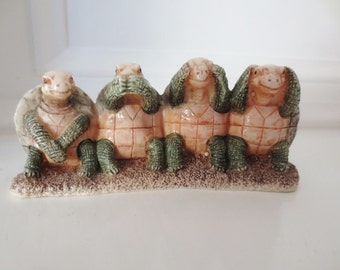 Turtle Figurine See Hear Speak No Evil Knic Knac Home Decor