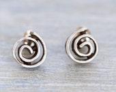 Silver Spiral Earrings - Sterling Silver studs - Miniature Cinnabon