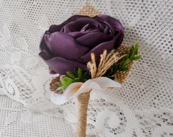 Rustic boutonnière, Wedding boutonnière, Groom boutonnière,Plum purple boutonnière,Burlap boutonnière,Wedding accessory, Fabric boutonnière