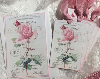 Shabby Chic Rose Stationery Set, Notecards, Gift Tags, Scrapbooking, Gift Items