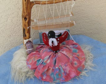 Navajo Weaver Doll at Her Loom, Vintage 1970s, on Real Sheepskin, With Papoose, and Detailed Loom and Weaving