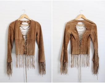 Vintage Distressed Leather Fringe Jacket / Open Back Jacket / Boho Jacket / Size XS