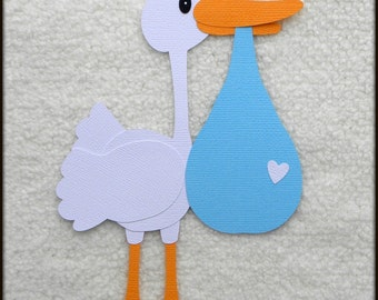 Die Cut Stork Newborn Baby Boy Delivery Scrapbook Page Embellishments for Card Making Scrapbook or Paper Crafts
