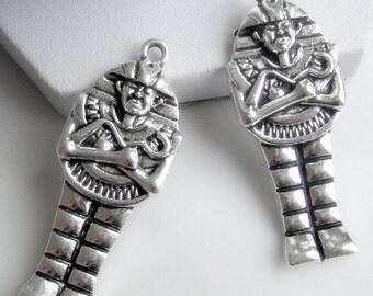 "2pcs-1.75"" Egyptian pharaoh charm pendant-antique silver tone charm"