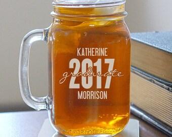 graduate engraved mason jar glass grad gift custom glass mason jar decor - Mason Jar Drinking Glasses