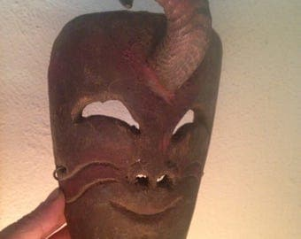 Antique carved wood Mexican Dance mask with goat horn old and used
