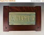 Welcome Tile - Arts & Crafts Mission Style Craftsman Frame - Matte Old Copper Green Glaze