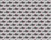 1/2 yard LAMINATED cotton fabric  - 18 x 40 - Blackbeard sharks on gray EXCLUSIVE - Approved for children's products