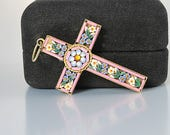 Micromosaic Cross Pendant, Forget me Not, Micromosaic crucifix Italian jewelry
