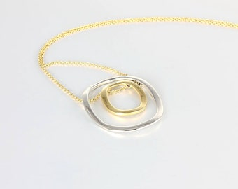 Modernist Necklace, 14K Solid Gold Kinetic Necklace, 17 inch Two tone White Yellow Gold Italy jewelry