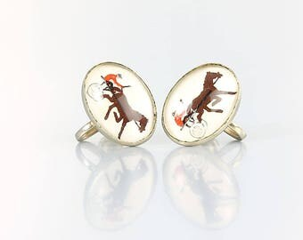 Racing Horse Buggy earrings, Reverse painted, 1950s Equestrian jewelry