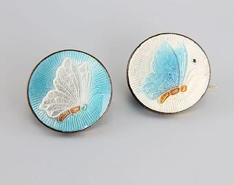 Guilloche enamel Butterfly Brooch. Art Deco Brooch Set antique Jewelry. Blue White enamel. Scatter Pins