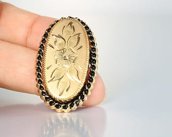 Forget me Not Gold Filled Brooch, Etched Floral Victorian Brooch, vintage jewelry