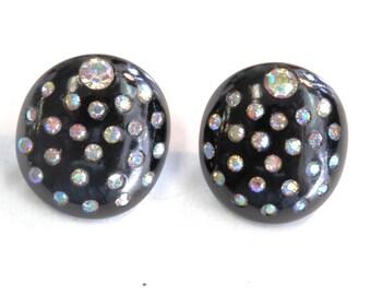 Pair of 1950s Round Black Plastic Clip  Earrings with Aurora Borealis Rhinestones