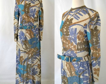 1970s Gold Lurex Maxi Dress, Large Floral Print Dress by House of Branell
