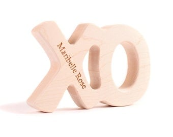 XO wood teether toy - hugs and kisses handmade personalized teething toy, an all natural new baby gift for boy or girl, safe and non toxic