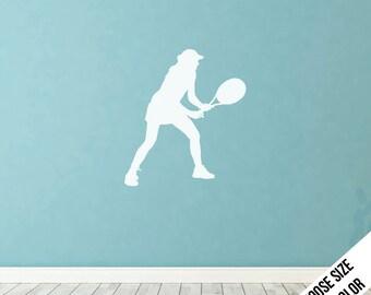 Women's Tennis Stance Wall Decal - Girl's Tennis - Vinyl Sticker