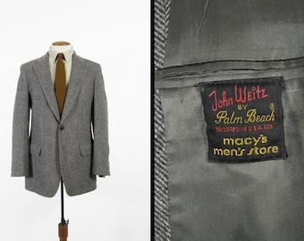 Vintage Palm Beach Tweed Jacket Herringbone Herringbone Grey Wool Sport Coat - 39 Long