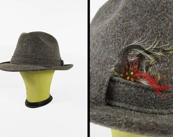 Vintage Tweed Fedora Hat Feathered Wool Grey Adam New York - Size Large