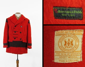 Vintage 50s Hudson's Bay Point Blanket Coat Red Mackinaw Wool Abercrombie & Fitch - Size 44