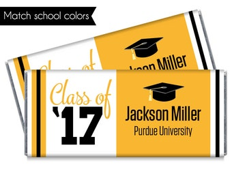 Set of 12 - Class of '17 Graduation Candy Bar Wrappers - Personalized 2017 Graduation Party Favors - Match school colors