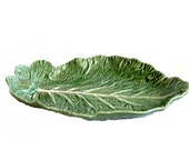 Vintage Bordallo Pinheiro Green Cabbage Lettuce Leaf Footed Platter Made in Portugal Majolica