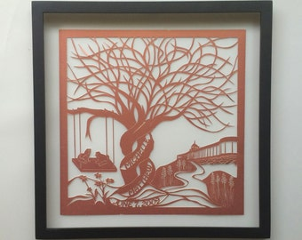 7th Anniversary FAMILY TREE Custom OrderGift in Copper Silhouette Paper Cut W/Names & Hotel ORIGINAL Design Framed OOaK