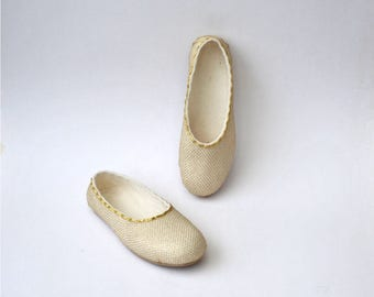 Handmade white softest merino wool felted slippers with gold net decoration - 8 US women size