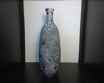 Naked raku bottle - 10 1\2 inches