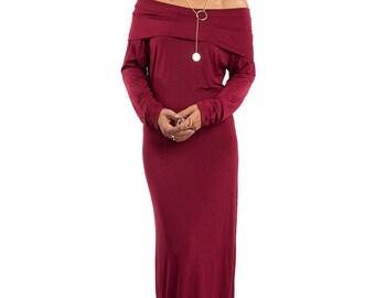 Maxi dress, off shoulder dress, Long sleeved dress, Burgundy dress, burgundy maxi dress : Elegant Collection II
