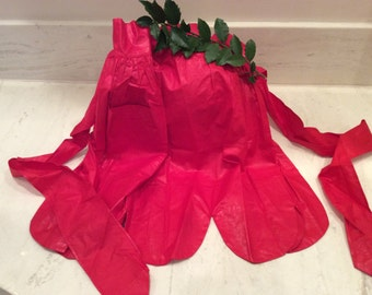 Vintage Holiday Red Chintz Christmas Apron, Vintage Kitchen, ,Vintage Christmas, Vintage Housewife, Vintage Cooking Attire